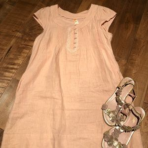 Anthropologie linen shift dress